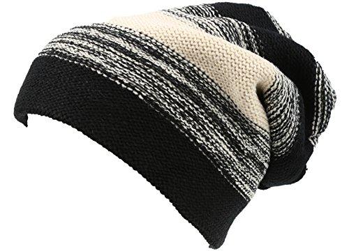 Classic Striped Hat (Sakkas 16146 - Balmn Long Tall Classic Striped Heather Faux Fur Lined Unisex Beanie Hat - Black/Cream - OS)