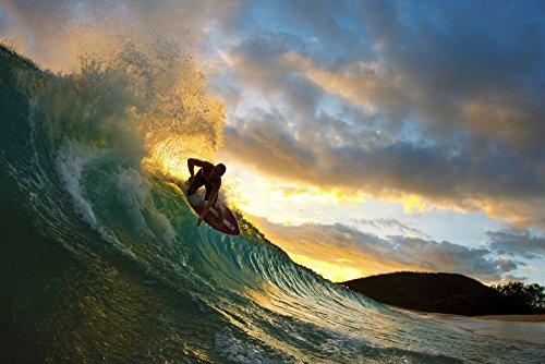 Posterazzi Hawaii Maui Makena - Big Beach Skimboarder Carving Turquoise Wave Sunset Light. Poster Print (34 x ()