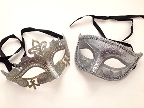 Silver Masquerade Ball Mask Pair Dance Prom Burlesque Graduation Dad and Daughter -