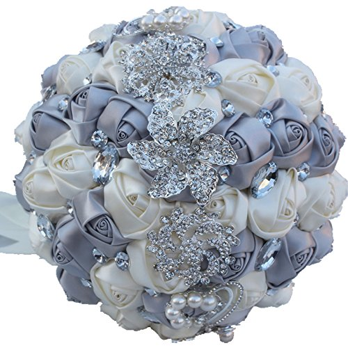 Amulti Bridesmaid Bridal bouquet For Wedding,Bouquet Flowers Roses Crystal Pearl Wedding Bouquet, Bridal Artificial Silk Flowers (Purple)