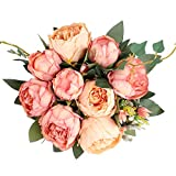 Blooming Paradise Artificial Fake Flowers Plants Silk Peony Flower Arrangements Wedding Bouquets Decorations Plastic Floral Table Centerpieces Home Kitchen Party Décor Festival Bar DIY(Champagne Pink)