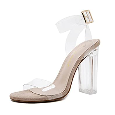 Sandali Trasparenti con Tacco Scarpe Alte Donna Eleganti Classiche High  Heels Plateau Clear Cristallo Beige 36 5e34f212fc2
