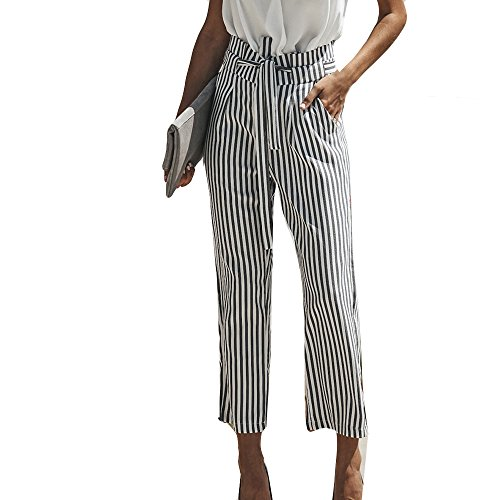Women Sexy High Waist Pants Stripe Fashion Wide Casual Leg Pants,2019 ()