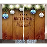 Christmas Decorations Curtains by Ambesonne, Wooden Setting with Bright Silver Balls Fairy Lights and Pine Twigs Best Wishes Theme, Living Room Bedroom Decor, 2 Panel Set, 108W X 84L Inches, Brown