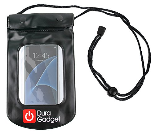 DURAGADGET Black Water-Resistant Neck Pouch - Compatible with the NEW Samsung Galaxy S7 and S7 Edge Smartphones - Edge Marketing Pool