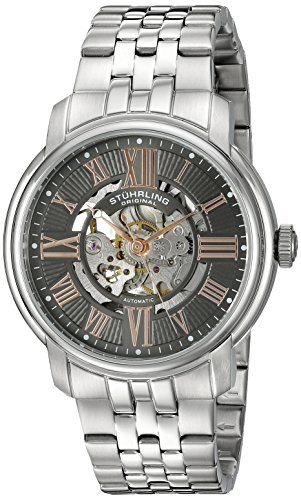 Stuhrling Original Men's 812.03 Atrium Automatic Self Wind Skeleton Stainless Steel Multi-Row Link Bracelet Watch