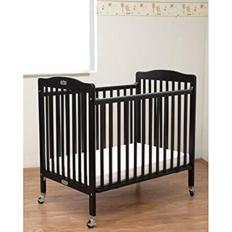 LA Baby Folding Wooden Compact Crib With 3 Inch Mattress Cherry
