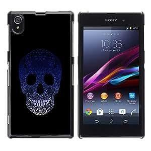 LECELL -- Funda protectora / Cubierta / Piel For Sony Xperia Z1 L39 C6902 C6903 C6906 C6916 C6943 -- Sugar Skull Blue Gradient --