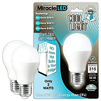 MiracleLED 604724 3-Watt Refrigerator and Freezer Light, Long Life Energy Saver Bulb, Cool White, 2-Pack Replacing Old, Hot 40W Incandescent,