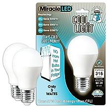 MiracleLED 604724 3-Watt Refrigerator and Freezer Light, Long Life Energy Saver Bulb, Cool White, 2-Pack