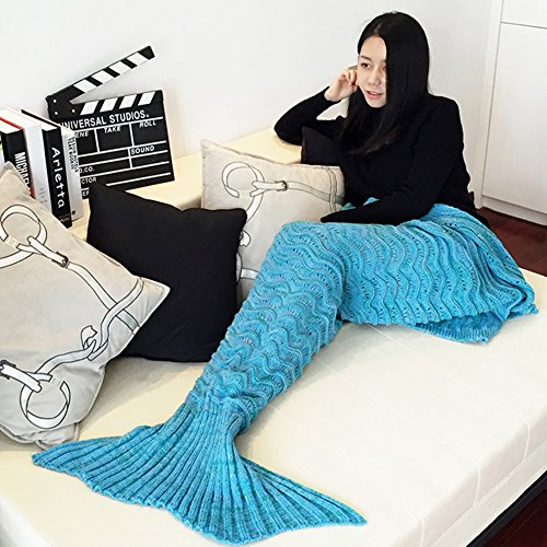Mermaid Tail Blanket Crochet and Handmade Living Room All Seasons Sleeping Bags for Adults, Super Soft (71×35.5, Wave Blue)