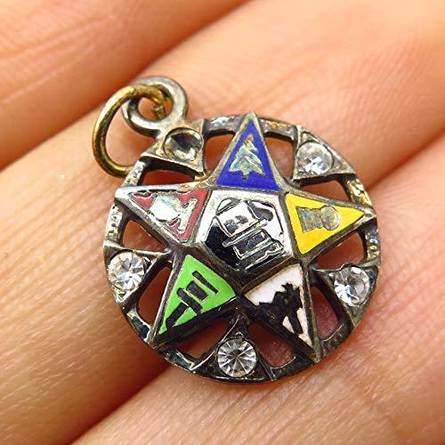 VTG Sterling Silver Enamel Rhinestone Eastern Star Order Masonic Charm Pendant Jewelry Making Supply by Wholesale Charms