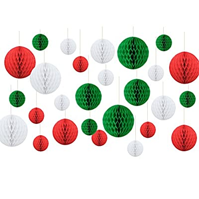 Christmas Hanging Decoration Paper Honeycomb Balls Xmas Party Favor Baby Shower Birthday Wedding Home Decoration Red White Green SUNBEAUTY 27 Pieces
