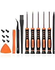 TECKMAN T6 T8 T9 T10 Torx Security Screwdriver Set, Repair Kit for Xbox one Xbox 360 PS3 PS4 Controller Disassembly and Cleaning with Anti-static Brush, Tweezer, Spare Screws and Opening Pry Tools