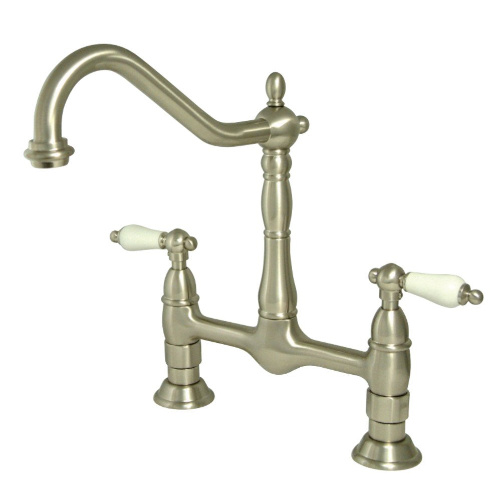 Kingston Brass KS1178PL Heritage 8-Inch Kitchen Faucet Without Sprayer, Brushed Nickel