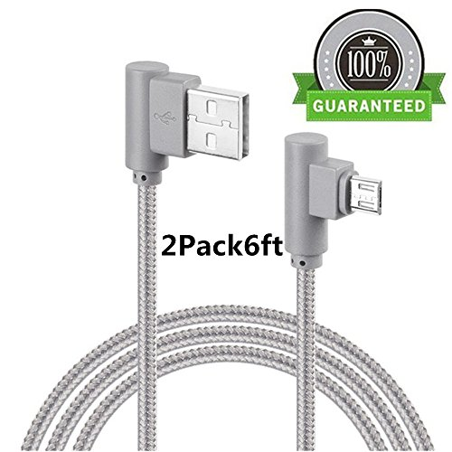 Micro USB 90 Degree Android Lightning Cable, VPR Right Angle USB to Micro USB Fast Charger Cord nylon braided for Galaxy S7/ S6/ S5/ Edge, Note 5/ 4/ 3, HTC, LG, Nexus and More (Grey2Pack6ft) - Edge Pro Compact