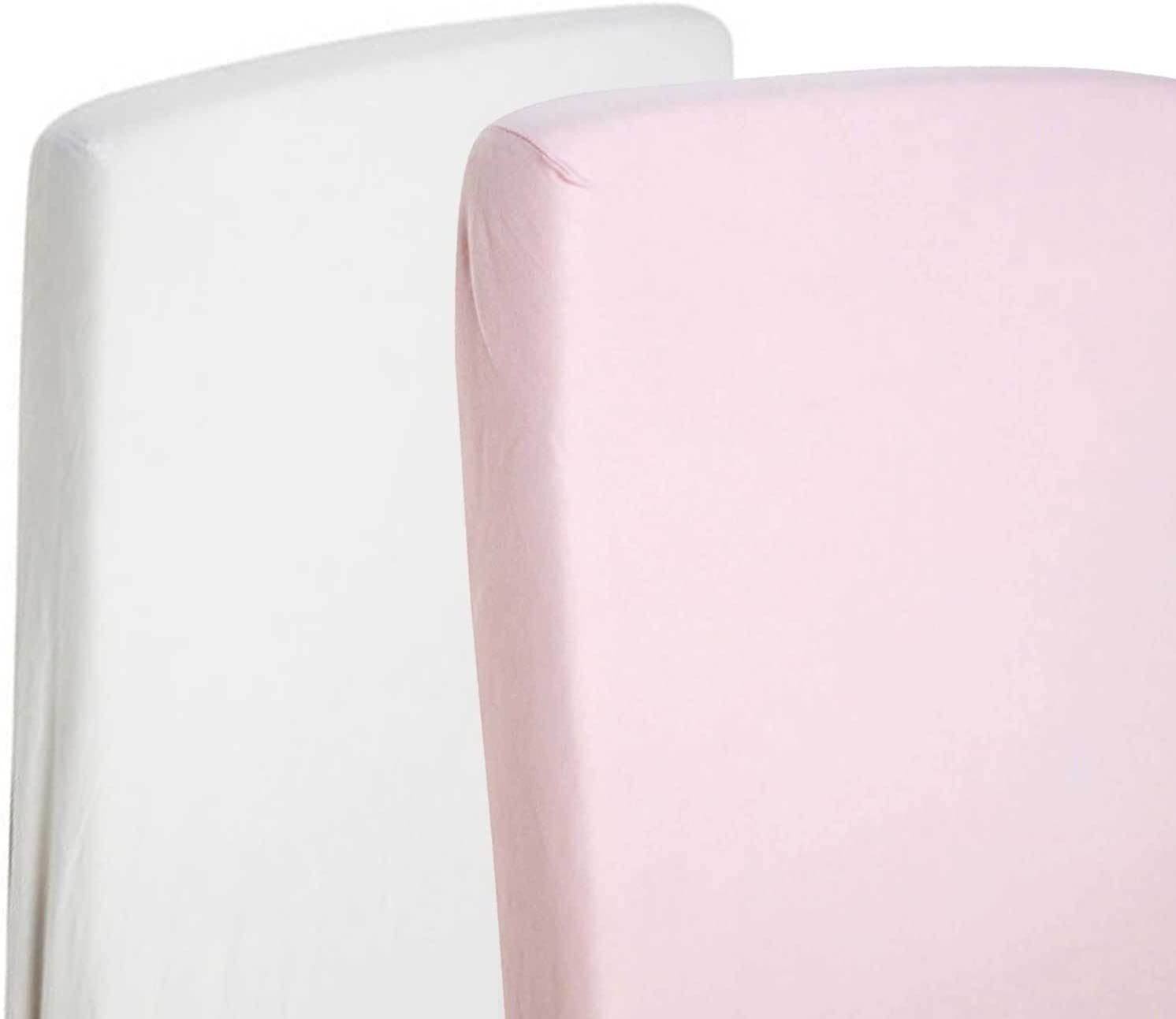 color blanco y rosa 2/x cama infantil//juvenil cama 100/% algod/ón Jersey S/ábana Bajera ajustable de 140/x 70/cm