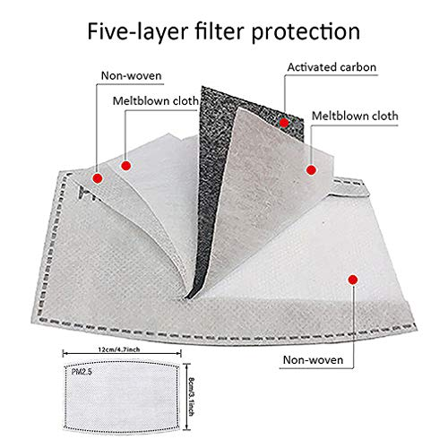 JF Face Bandanas Cotton with Breathing Valve, with Activated Carbon Filter, Replaceable Filters for smog and dust Facial Treatment