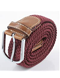 TopOne Men`s Casual Braided Elastic Stretch Belt (Deep Red)