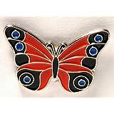 Pin de metal esmalte broche mariposa rojo y negro/azul