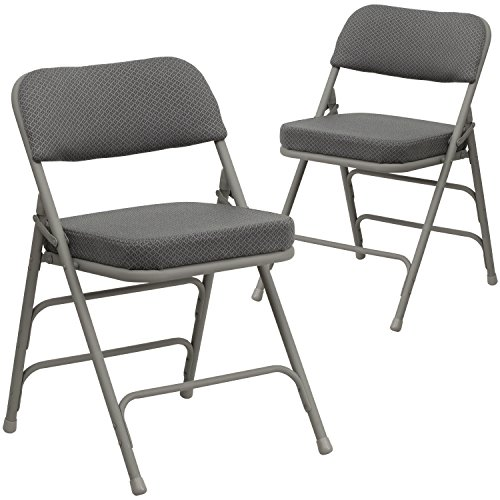 Flash Furniture 2 Pk. HERCULES Series Premium Curved Triple Braced & Double Hinged Gray Fabric Metal Folding (Fabric Metal Folding Chair)