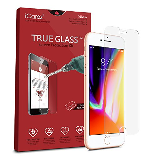 iCarez [Tempered Glass] Screen Protector for iPhone 8 Highest Quality Easy Install [ 2-Pack 0.33MM 9H 2.5D] with Lifetime Replacement Warranty - Retail Packaging