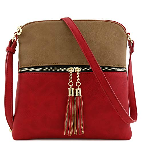 (Tassel Zip Pocket Crossbody Bag (Stone/Red))