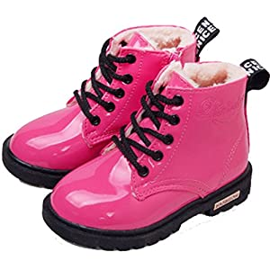 PPXID Boy's Girl's Waterproof Lace-Up Boots(Baby Boy/Baby Girl/Toddler/Little Kid/Big Kid)-Rose Red 2 US Size