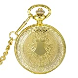 SwitchMe Retro Quartz Pocket Watch Antique Shield Cover Japan Movement with Belt Clip Chain