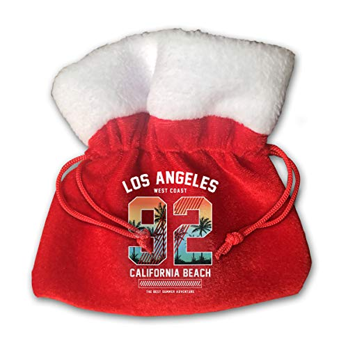 CYINO Personalized Santa Sack,Los Angeles California 92 Portable Christmas Drawstring Gift Bag (Red)