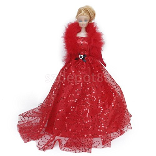 Wedding Party Red Sequins Dress Gown Feather Bow Outfit by uptogethertek
