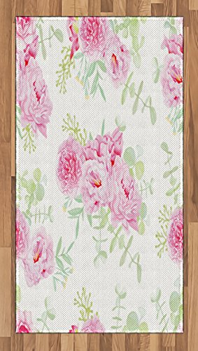 Lunarable Shabby Chic Area Rug, Serenity Garden Theme with Pastel Colored Peonies and Green Leaves, Flat Woven Accent Rug for Living Room Bedroom Dining Room, 2.6 x 5 FT, Pale Pink Pale Green (Rug Garden Peony)
