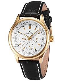 KS Leather Band Gold Case Automatic Mechanical 6 Hands Date Day Men's Watch KS094