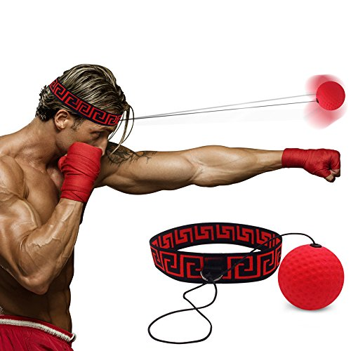Boxing Reflex Fight Ball by Abra Athletics: Great for Improving Reactions, Punching, Hand Speed and Agility, Headband Fits All, Perfect for Boxing, Training and Fitness, Premium Gym Boxing Equipment