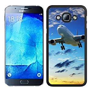 A8 Case,Plane Sky Flying Sunset Black Abstract Customized Samsung Galaxy A8 Case