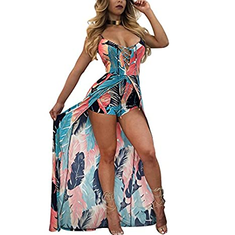 7b3be9904c5 Amazon.com  Autumn Water summer print floral beach Playsuit Sexy Rompers  Womens Jumpsuit skirts lace up Bodysuits female Elastic Overalls  Kitchen    Dining