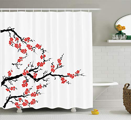 Ambesonne Japanese Decor Collection, Simplistic Cherry Blossom Tree Asian Botanic Themed Pattern Fresh Organic Lines Art Work, Polyester Fabric Bathroom Shower Curtain, 75 Inches Long, Red Black