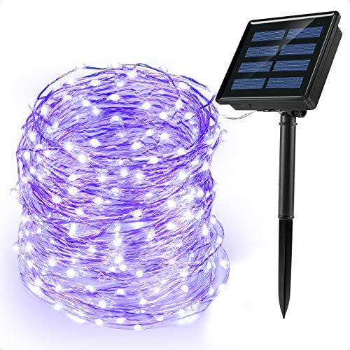 Ankway luci Stringa Solare, 200 LED 8 Modi Lunghezza 22M/72ft, Luci Energia Solare Impermeabili Interni e Esterni per Giardino Natale Matrimoni e Feste,Viola
