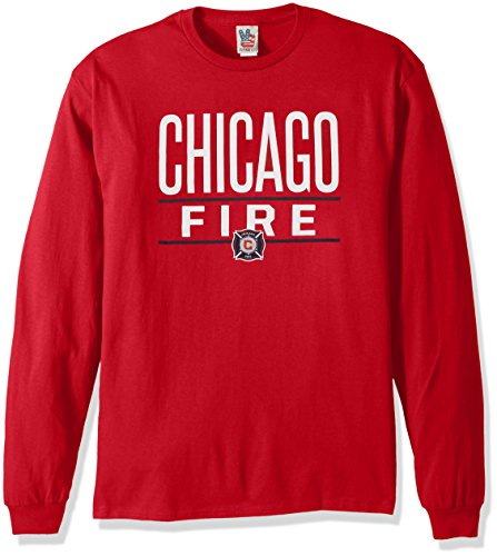 Junk Food MLS Chicago Fire Men's Long Sleeve Tee, X-Large, Red