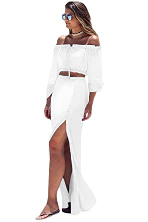 4f7a49def465ed White Off Shoulder Crop Top Button Down Maxi Skirt Set Size 10   Amazon.co.uk  Clothing