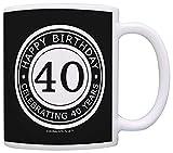 all black coffee mug - 40th Birthday Gifts For All Happy Birthday Celebrating 40 Years Gift Coffee Mug Tea Cup Black