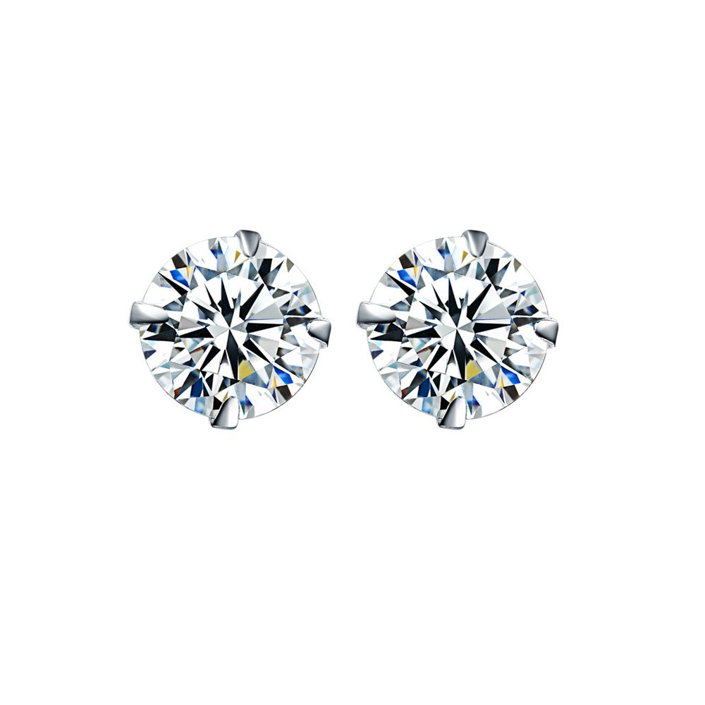 925 Sterling Silver Round Clear Cubic Zirconia Stud Earrings 5mm 6mm 7mm 8mm