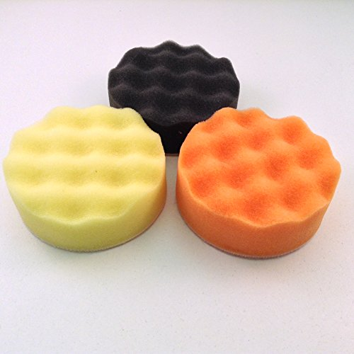"3"" Waffle Foam Buffing Pads Set of 3 Finishes (Fine, Coarse and Finishing)"