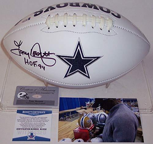 Tony Dorsett - Autographed Dallas Cowboys Full Size Logo Football - BAS Beckett -