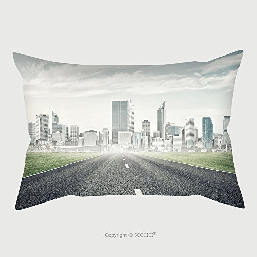 Custom Microfiber Pillowcase Protector Natural Landscape With Asphalt Road And Modern City 523862002 Pillow Case Covers Decorative price
