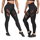 Hunzed Women Patchwork High Waist Yoga Pants, Sports Gym Running Athletic Trouser Fitness Leggings (S, black)