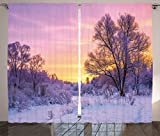 Cheap Ambesonne Farm House Decor Curtains by, Winter Landscape with Sunset and Frozen Trees Ice Weather Blizzard Cold Days Image, Living Room Bedroom Decor, 2 Panel Set, 108 W X 84 L Inches, Pink White