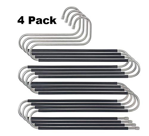 Kangahanger 4 Pack S-Type Stainless Steel Pants Hanger Closet Storage Organizer for Pants, Jeans, Skirts, and Scarves (14.6in x 13.4in)