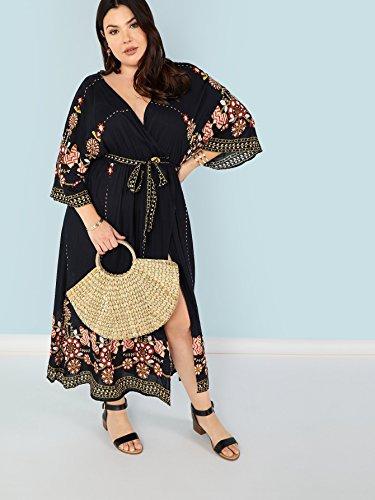 Print Wrap Black Milumia Embroidery Size Floral Maxi Bohemian 4 Flounce 3 Belted Split Dress Waist Plus Neck Sleeves V zqrUz0