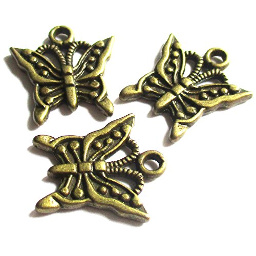 Heather's cf 57 Pieces Brass Tone Butterfly Beads DIY Charms Pendants 17X15mm (Butterfly Charm Pewter)